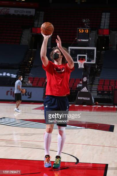 Robin Lopez of the Washington Wizards warms up before the game against the Portland Trail Blazers on February 20, 2021 at the Moda Center Arena in...