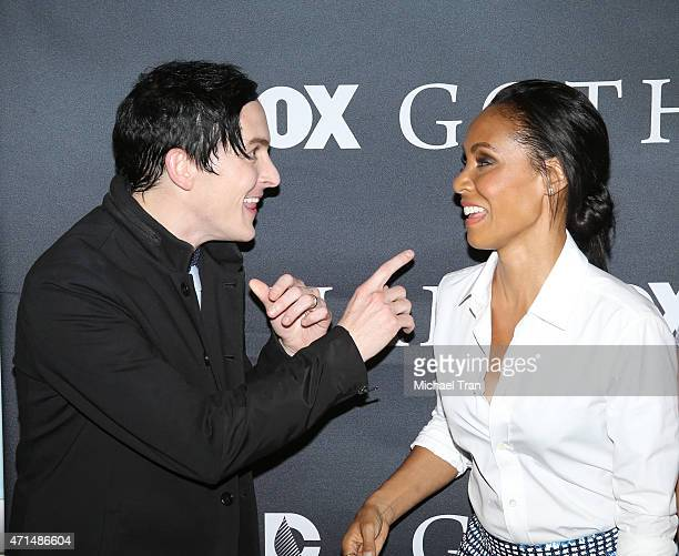 Robin Lord Taylor and Jada Pinkett Smith arrive at Fox's 'Gotham' finale screening event held at Landmark Theatre on April 28 2015 in Los Angeles...