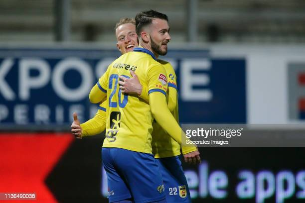 Robin Maulun of SC Cambuur Celebrates 41 with Andrejs Ciganiks of SC Cambuur during the Dutch Keuken Kampioen Divisie match between SC Cambuur v...