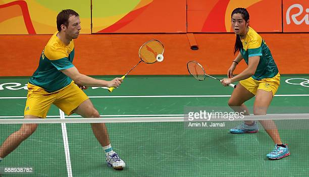 Robin Middleton and Leanne Choo of Australia competes against Liu Ying Goh in the badminton Women's Doubles Group Play Stage - Group B on Day 7 of...