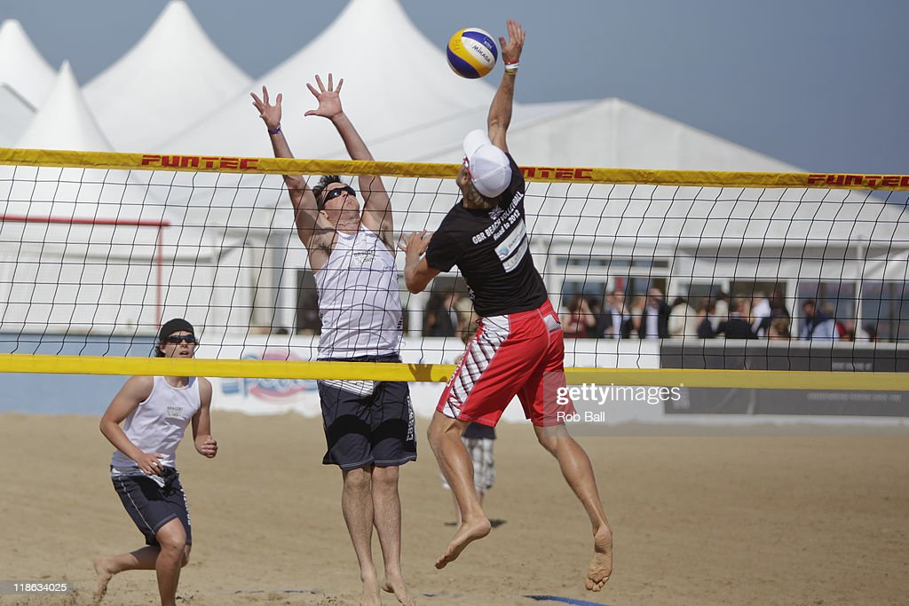 Robin Miedzybrodzki plays Beach Volleyball for the Olympic Team GB at the British Beach Polo Championships at Sandbanks Beach on July 9, 2011 in Poole, England.