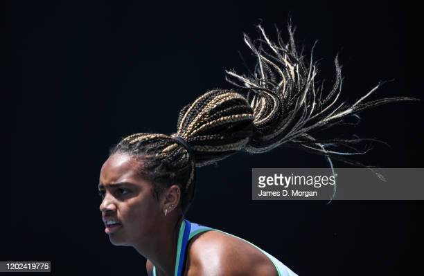 Robin Montgomery of United States of America in her junior girls singles second round match against Pia Lovric of Slovenia on day nine of the 2020...