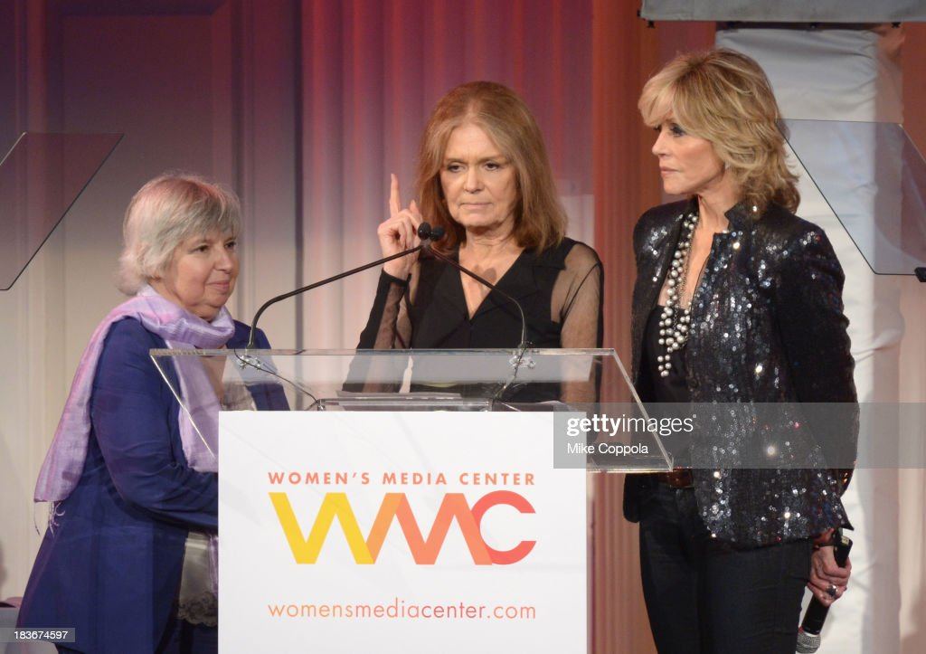 Robin Morgan, Gloria Steinem and Jane Fonda speak onstage at the 2013 Women's Media Awards on October 8, 2013 in New York City.