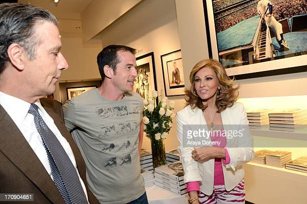 Robin Morgan Liam Dunaway O'Neill and Raquel Welch attend a gallery exhibit of Terry O'Neill Presents The Opus A 50 Year Retrospective at Mouche...