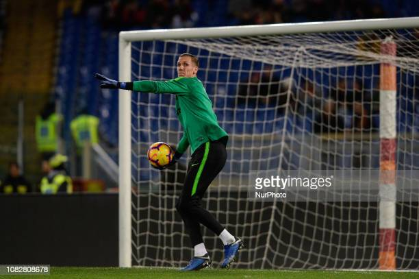 Robin Olsen during the Italian Cup football match between AS Roma and Virtus Entella at the Olympic Stadium in Rome on January 14 2019