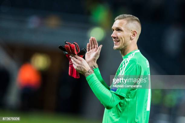 Robin Olsen goalkeeper for Sweden thanks supporter during the FIFA 2018 World Cup Qualifier PlayOff First Leg between Sweden and Italy at Friends...