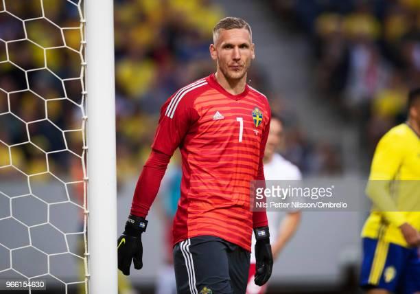 Robin Olsen goalkeeper of Sweden during the International Friendly match between Sweden and Denmark at Friends Arena on June 2 2018 in Solna Sweden
