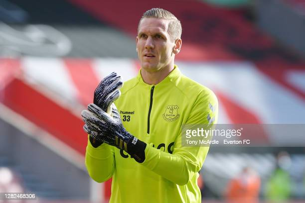 Robin Olsen of Everton before the Premier League match between Southampton and Everton at St Mary's Stadium on October 25 2020 in Southampton England