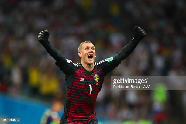 Robin Olsen of Sweden celebrates after Ola Toivonen of Sweden scored a goal to make it 01 during the 2018 FIFA World Cup Russia group F match between...