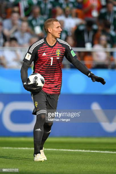 Robin Olsen of Sweden during the 2018 FIFA World Cup Russia group F match between Mexico and Sweden at Ekaterinburg Arena on June 27 2018 in...