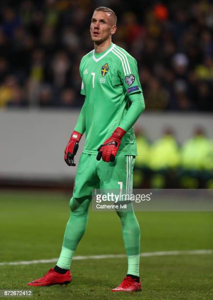 Robin Olsen of Sweden during the FIFA 2018 World Cup Qualifier PlayOff First Leg between Sweden and Italy at Friends arena on November 10 2017 in...