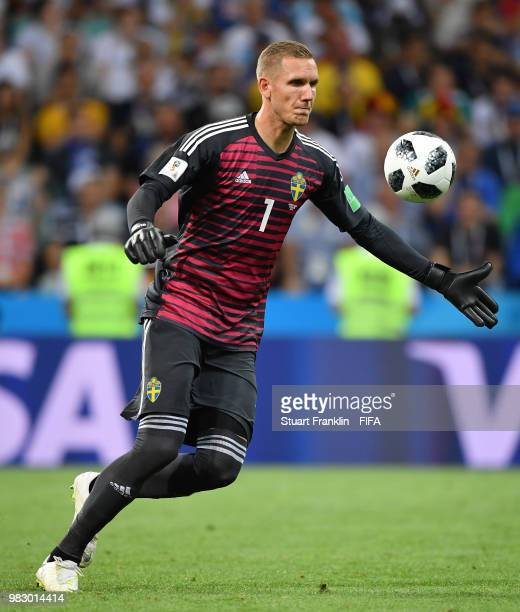 Robin Olsen of Sweden in action during the 2018 FIFA World Cup Russia group F match between Germany and Sweden at Fisht Stadium on June 23 2018 in...