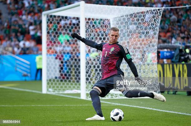 Robin Olsen of Sweden in action during the 2018 FIFA World Cup Russia group F match between Mexico and Sweden at Ekaterinburg Arena on June 27 2018...