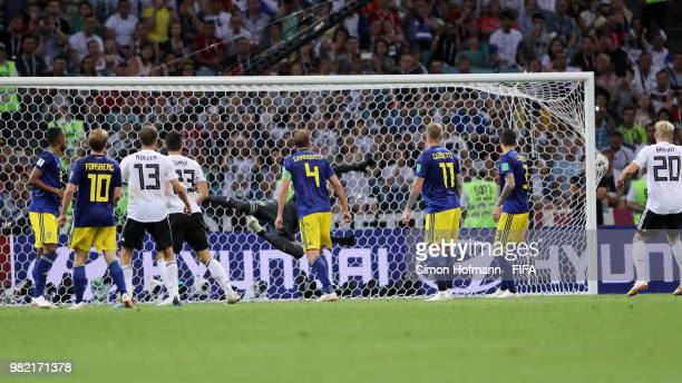 Robin Olsen of Sweden is beaten by a shot from Toni Kroos of Germany for their winning goal during the 2018 FIFA World Cup Russia group F match...