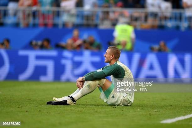Robin Olsen of Sweden looks dejected following his sides defeat in the 2018 FIFA World Cup Russia Quarter Final match between Sweden and England at...