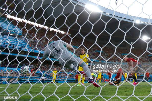 Robin Olsen of Sweden makes a save from a Dani Olmo of Spain header during the UEFA Euro 2020 Championship Group E match between Spain and Sweden at...
