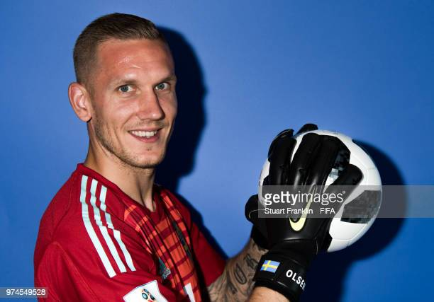Robin Olsen of Sweden poses for a photograph during the official FIFA World Cup 2018 portrait session at on June 13 2018 in Gelendzhik Russia