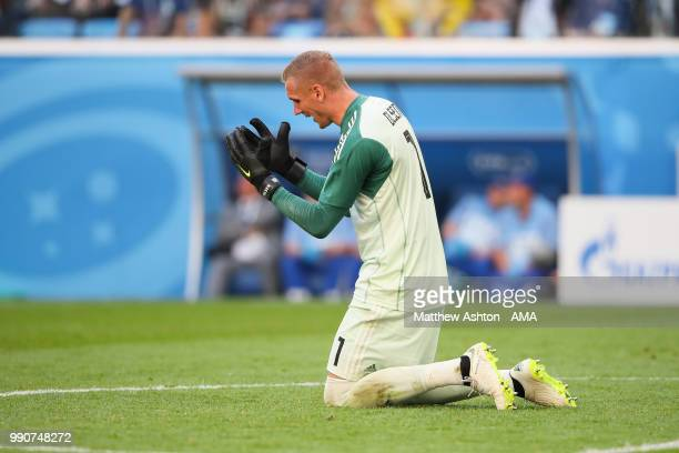 Robin Olsen of Sweden reacts during the 2018 FIFA World Cup Russia Round of 16 match between Sweden and Switzerland at Saint Petersburg Stadium on...