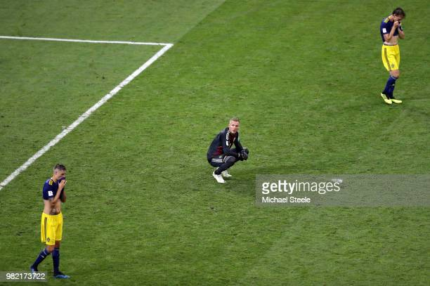 Robin Olsen of Sweden shows dejection following the 2018 FIFA World Cup Russia group F match between Germany and Sweden at Fisht Stadium on June 23...