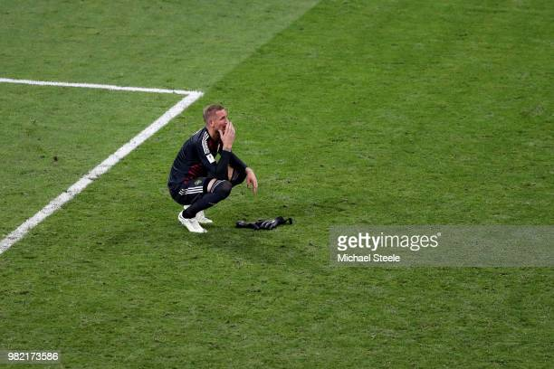Robin Olsen of Sweden shows his dejection following the 2018 FIFA World Cup Russia group F match between Germany and Sweden at Fisht Stadium on June...