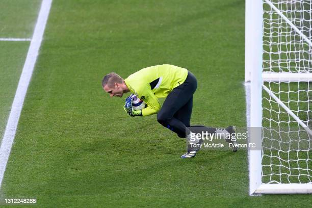 Robin Olsen warms up before the Premier League match between Brighton and Hove Albion and Everton at the American Express Community Stadium on April...