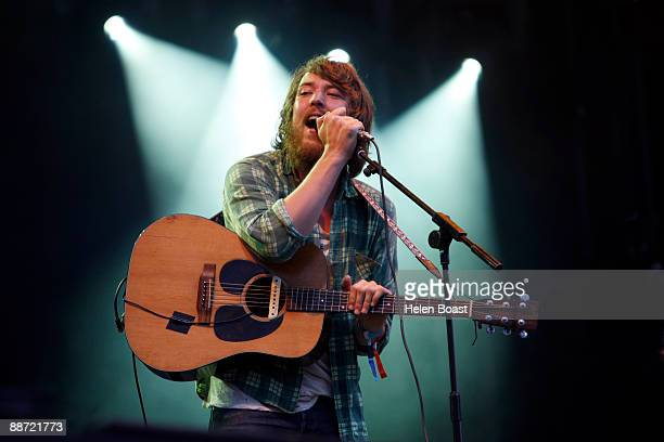Robin Pecknold of Fleet Foxes performs on stage for day 2 of Hard Rock Calling at Hyde Park on June 27 2009 in London England