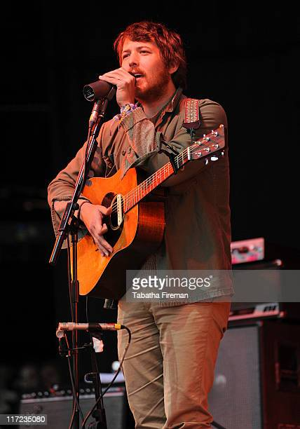 Robin Pecknold of Fleet Foxes performs on the Other stage during the second day of Glastonbury Festival 2011 at Worthy Farm on June 24, 2011 in...