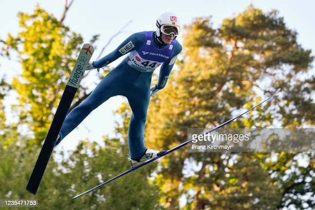 Robin Pedersen of Norway competes during the FIS Grand Prix Skijumping Hinzenbach at on February 6, 2021 in Eferding, Austria.
