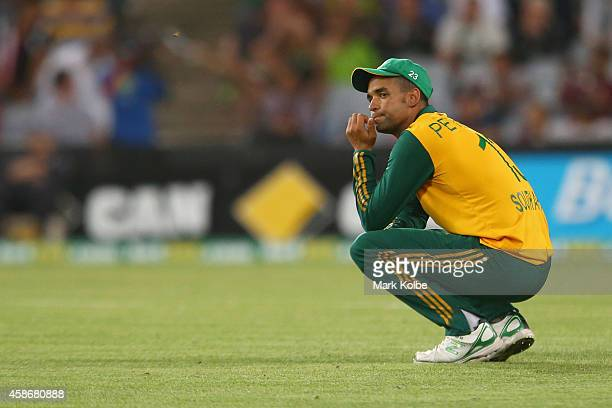 Robin Petersen of South Africa looks dejected after a missed run out chance in the last over during game three of the Men's International Twenty20...