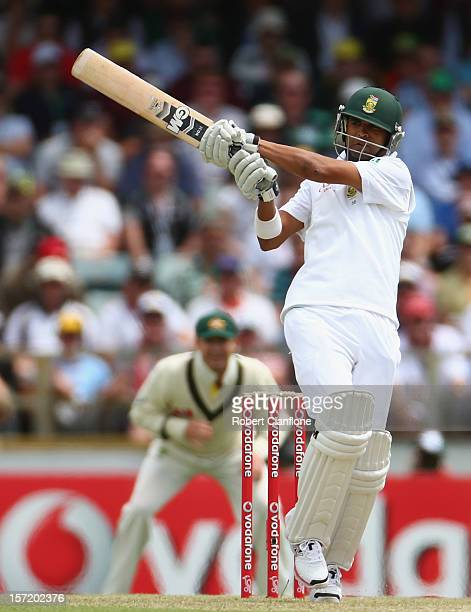 Robin Peterson of South Africa bats during day one of the Third Test Match between Australia and South Africa at the WACA on November 30 2012 in...