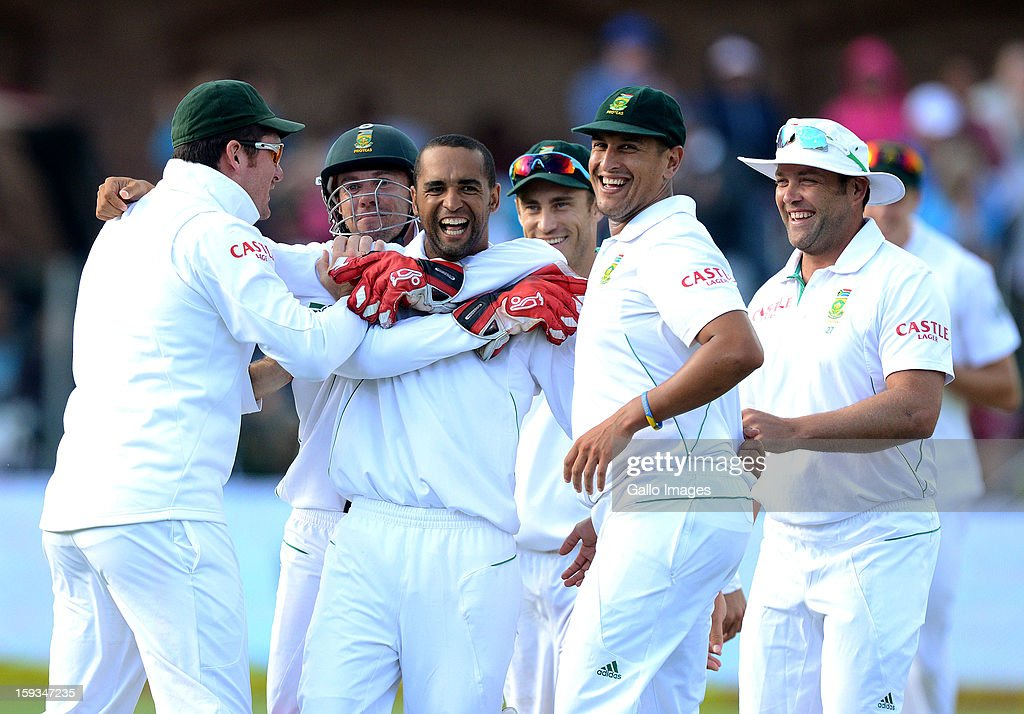 Robin Peterson of South Africa celebrates a wicket during day 2 of the 2nd Test match between South Africa and New Zealand at Axxess St Georges on January 12, 2013 in Port Elizabeth, South Africa.