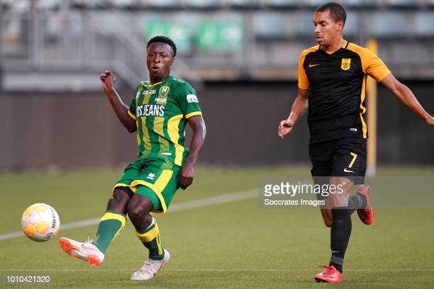 Robin Polley of ADO Den Haag Nicolas Diguiny of Aris Thessaloniki during the Club Friendly match between ADO Den Haag v Aris Saloniki at the Cars...