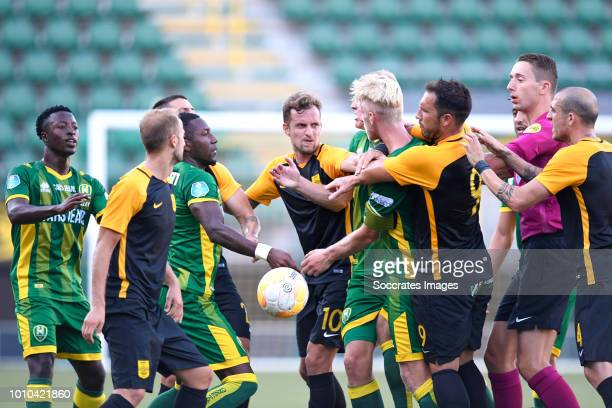 Robin Polley of ADO Den Haag Sheraldo Becker of ADO Den Haag Nicolas Colazo of Aris Thessaloniki Lex Immers of ADO Den Haag Thomas Nazlidis of Aris...
