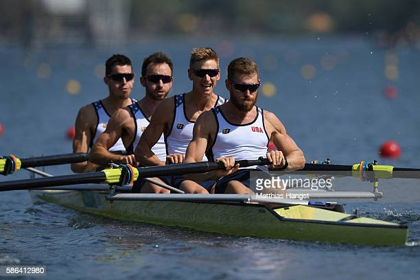 Robin Prendes Anthony Fahden Edward King and Tyler Nase of the United States compete during the LWT Men's Four Heat 3 on Day 1 of the Rio 2016...