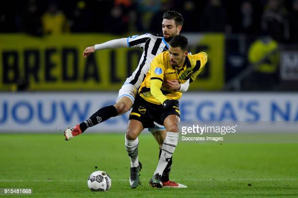 Robin Propper of Heracles Almelo Mitchell te Vrede of NAC Breda during the Dutch Eredivisie match between NAC Breda v Heracles Almelo at the Rat...