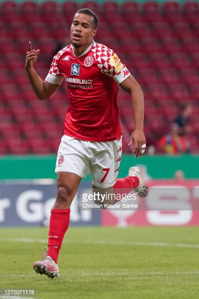 Robin Quaison of 1.FSV Mainz 05 celebrates after scoring his team`s fourth goal during the DFB Cup first round match between TSV Havelse and 1. FSV...