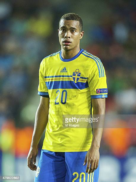 Robin Quaison of Sweden during the UEFA European Under21 Championship final match between Sweden and Portugal on June 30 2015 at the Eden stadium in...