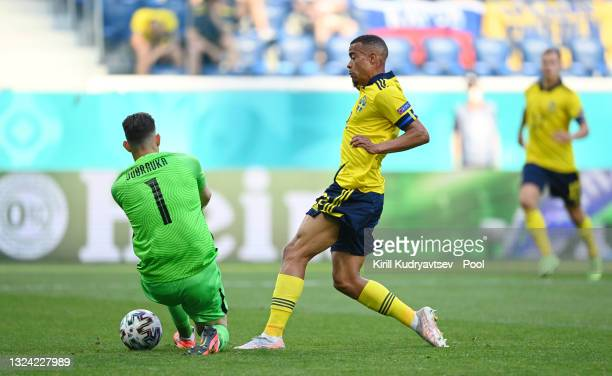Robin Quaison of Sweden is fouled by Martin Dubravka of Slovakia leading to a penalty being awarded during the UEFA Euro 2020 Championship Group E...