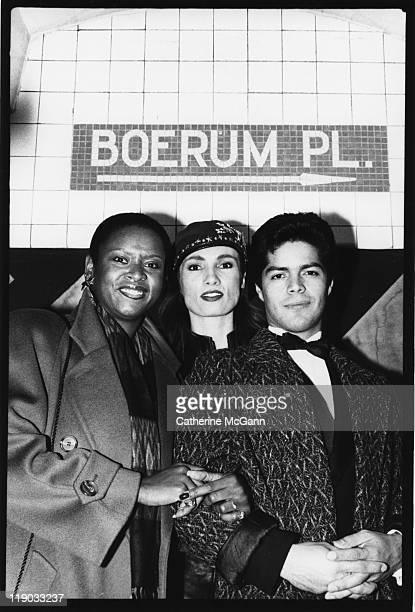 Robin Quivers Lisa Sliwa and Esai Morales pose for a group photo on November 7 1987 at an event at the Boerum Place subway stop in New York City New...