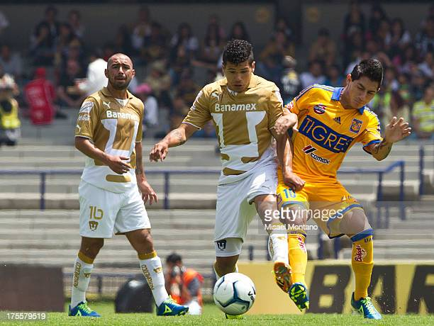 Robin Ramirez and Danilinho fight for the ball during a match between Pumas and Tigres as part of Torneo Apertura of Liga MX 2013 ar Olympic Stadium...