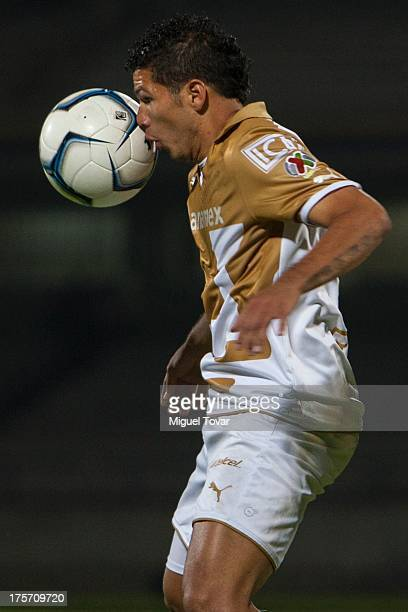 Robin Ramirez of Pumas controls the ball during a match between Pumas and Leones Negros as part of the Copa MX at Olympic stadium on August 06 2013...