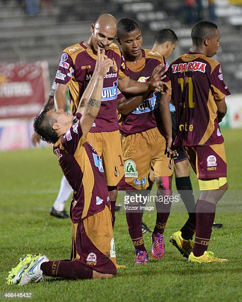 Robin Ramirez player of Deportes Tolima celebrates his first goal during a match between Tolima and Huila as part of roun 10 Liga Aguila I 2015 at...