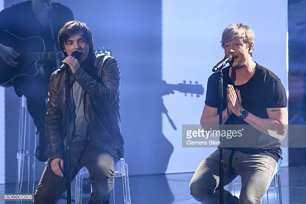 Robin Resch and Samu Haber of Sunrise Avenue perform during the ''The Voice Of Germany' Finals' on December 18 2016 in Berlin Germany