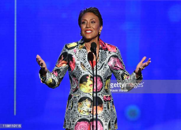Robin Roberts accepts the Sager Strong Award onstage during the 2019 NBA Awards presented by Kia on TNT at Barker Hangar on June 24, 2019 in Santa...