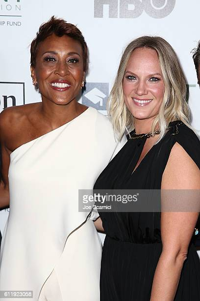 Robin Roberts and Amber Laign arrive at the 2016 Point Honors Los Angeles Gala at The Beverly Hilton Hotel on October 1 2016 in Beverly Hills...