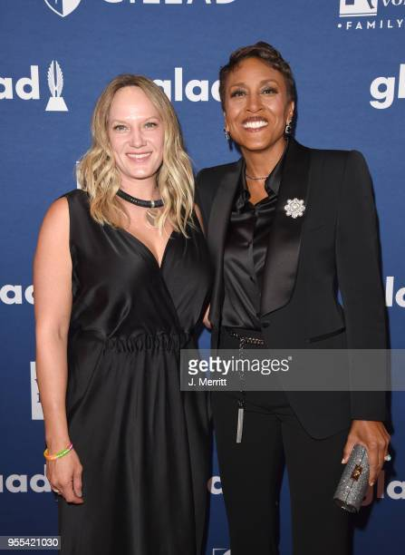 Robin Roberts and Amber Laign attend the 29th Annual GLAAD Media Awards at The Hilton Midtown on May 5 2018 in New York City