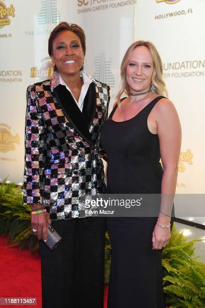 Robin Roberts and Amber Laign attend the Shawn Carter Foundation Gala at Hard Rock Live in the Seminole Hard Rock Hotel Casino on November 16 2019 in...