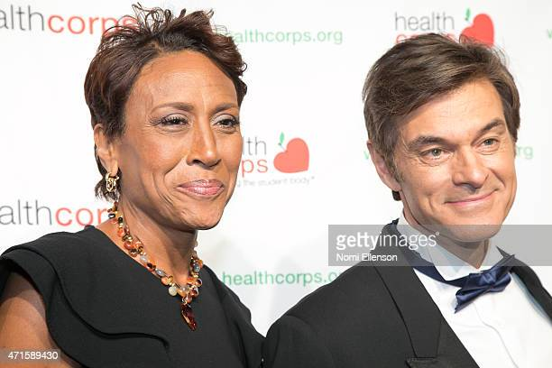 Robin Roberts and Dr Mehmet Oz attend the 9th Annual HealthCorps' Gala at Cipriani Wall Street on April 29 2015 in New York City