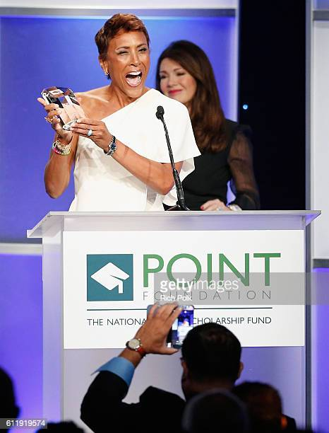 Robin Roberts and Lisa Vanderpump speak onstage at Point Foundation's Point Honors gala at The Beverly Hilton Hotel on October 1 2016 in Beverly...