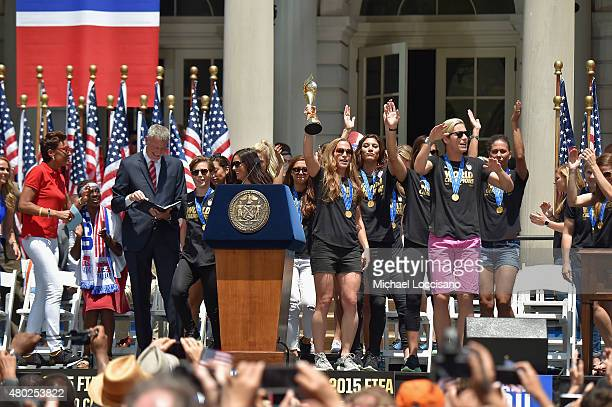 Robin Roberts and Mayor Bill de Blasio celebrate the World Cup Champions US Women's Soccer National Team at a City Hall ceremony following a New York...